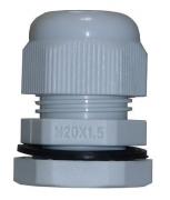 Kabelverschraubung M25 x 1,5 grau mit Gegenmutter Kunststoff